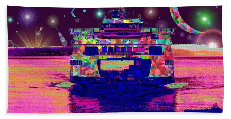 Celestial Beach Towel featuring the digital art Celestial Sailing by Tim Allen