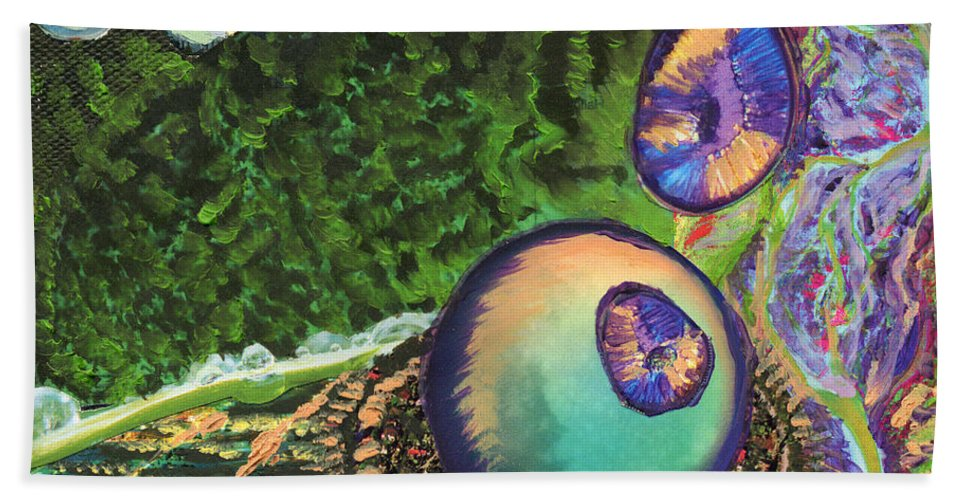 Human Beach Towel featuring the painting Cell Interior Microbiology Landscapes Series by Emily McLaughlin