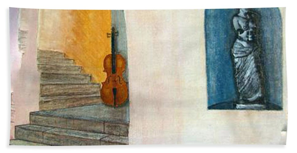 Cello Beach Towel featuring the painting Cello No 2 by Richard Le Page