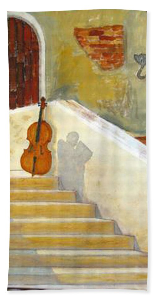 Cello Beach Towel featuring the painting Cello No 3 by Richard Le Page