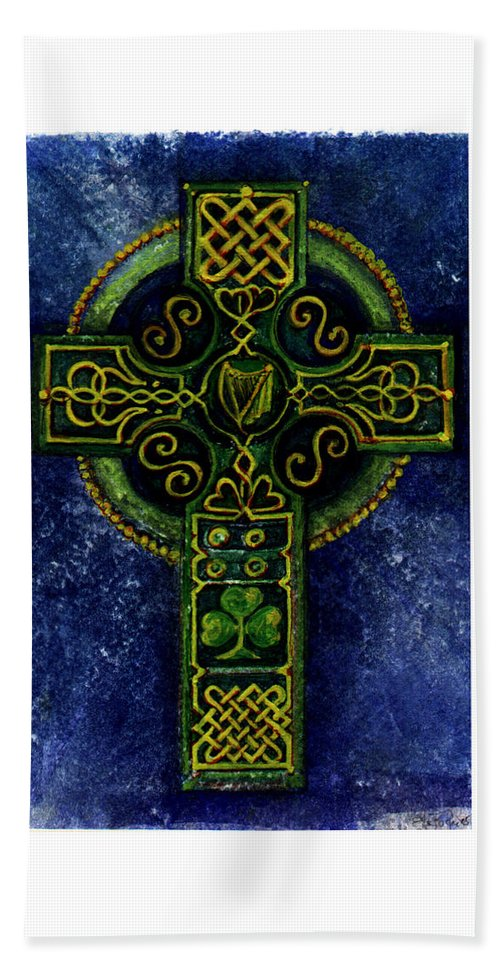 Elle Fagan Beach Towel featuring the painting Celtic Cross - Harp by Elle Smith Fagan