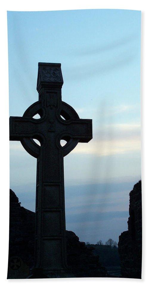 Irish Beach Sheet featuring the photograph Celtic Cross At Sunset Donegal Ireland by Teresa Mucha