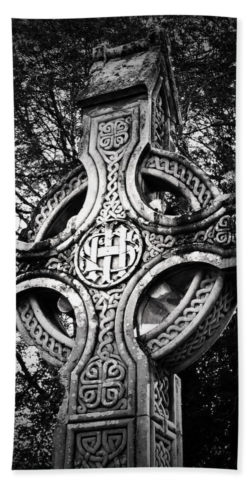 Irish Beach Sheet featuring the photograph Celtic Cross Detail Killarney Ireland by Teresa Mucha