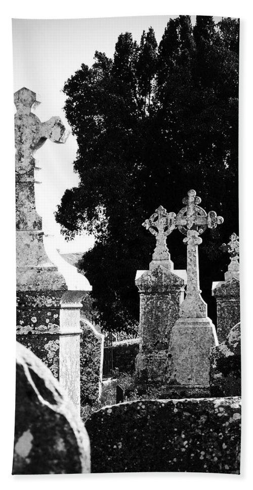 Celtic Beach Towel featuring the photograph Celtic Crosses At Fuerty Cemetery Roscommon Ireland by Teresa Mucha