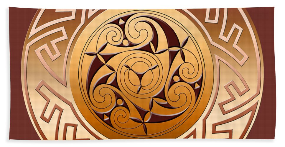 Celtic Beach Towel featuring the digital art Celtic Spiral and Key Pattern by Melissa A Benson