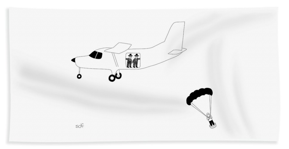 Airplane Beach Sheet featuring the drawing Cement Shoes by Seth Fleishman