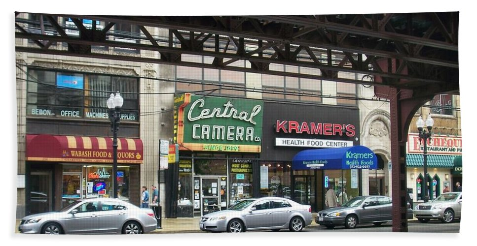 Chicago Beach Towel featuring the photograph Central Camera On Wabash Ave by Anita Burgermeister