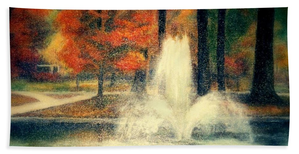 Pond Beach Towel featuring the painting Central Park In Autumn by Gail Kirtz