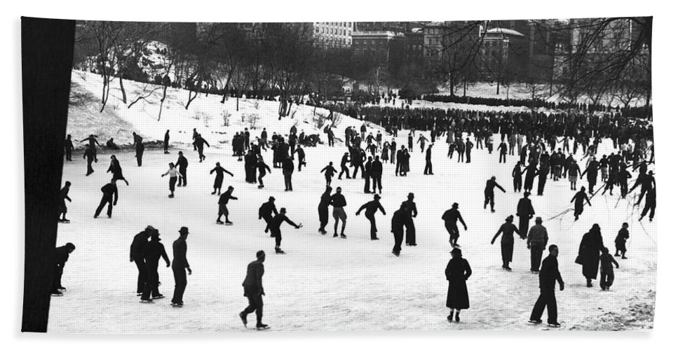 1930s Beach Towel featuring the photograph Central Park Winter Carnival by Underwood & Underwood