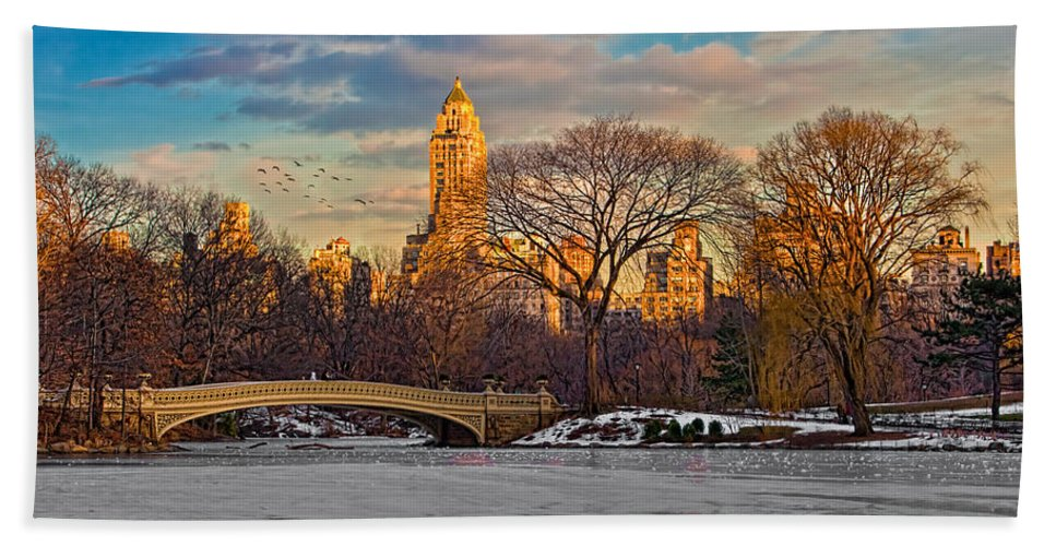 Landscape Beach Towel featuring the photograph Central Parks Famous Bow Bridge by Chris Lord