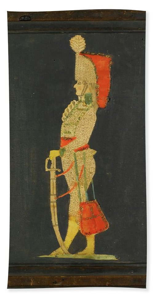 German School -19th Century Hussar Beach Towel featuring the painting Century Hussar by MotionAge Designs