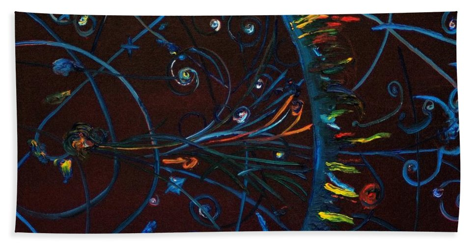 Cern Beach Towel featuring the painting CERN Atomic Collision Physics and Colliding Particles by Modern Impressionism