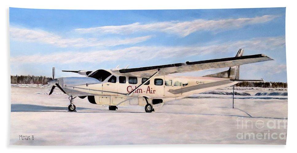 Cessna 208 Caravan Beach Towel featuring the painting Cessna 208 Caravan by Marilyn McNish