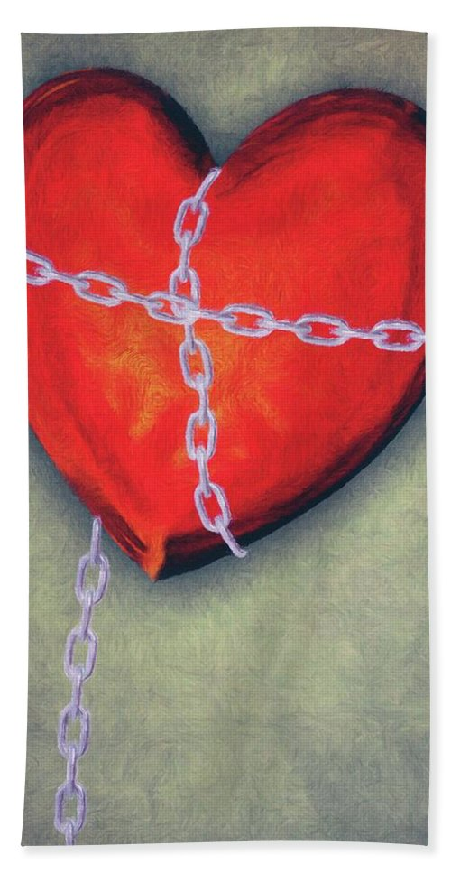 Heart Beach Towel featuring the painting Chained Heart by Jeffrey Kolker