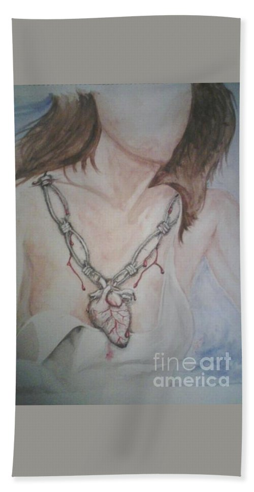 Watercolor Beach Towel featuring the painting Chained Heart by Larissa Vitt
