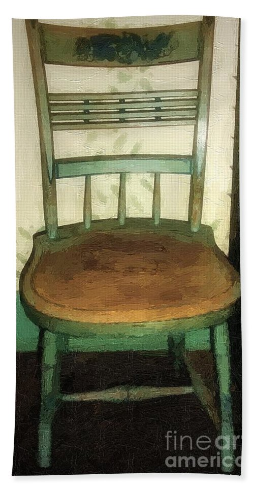 Antique Beach Towel featuring the painting Chair In Isolated Corner by RC DeWinter