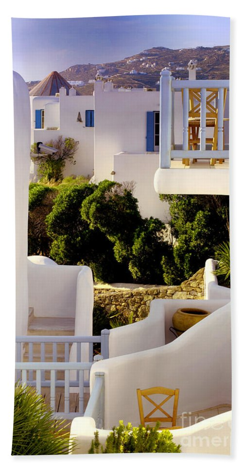 Mykonos Beach Towel featuring the photograph Chair On Balcony In Mykonos by Madeline Ellis