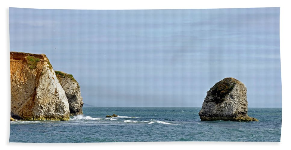 Freshwater Bay Beach Towel featuring the photograph Chalk Cliffs At Freshwater Bay by Rod Johnson