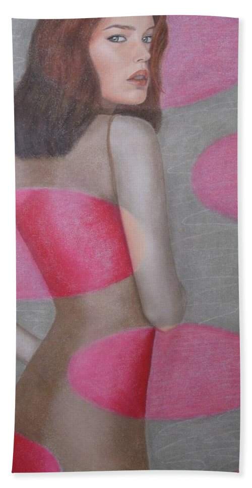 Woman Beach Sheet featuring the painting Chameleon by Lynet McDonald