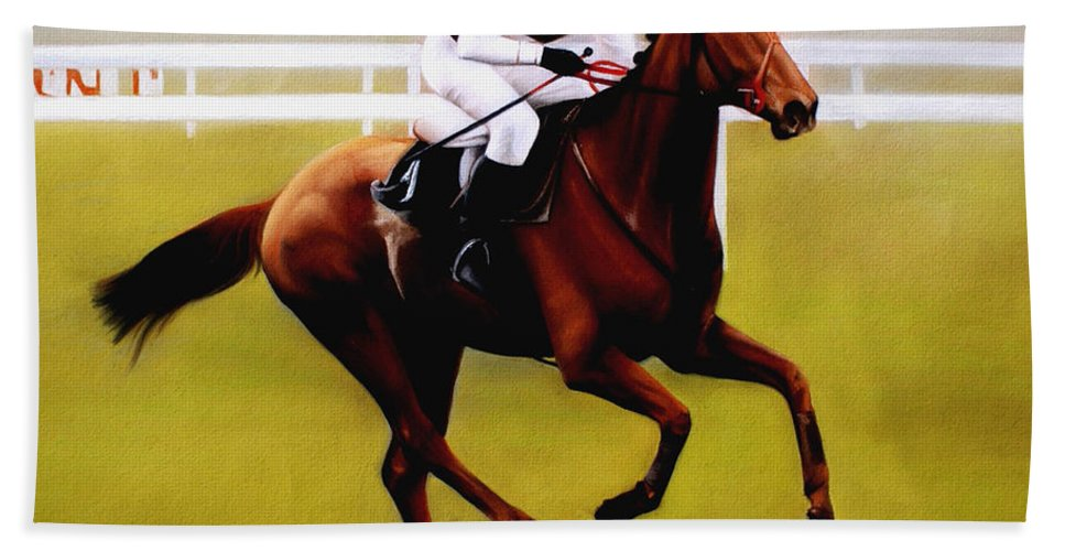 Horse Racing Beach Towel featuring the pastel Champion Hurdle - Winner - Morley Street by Miroslav Stojkovic