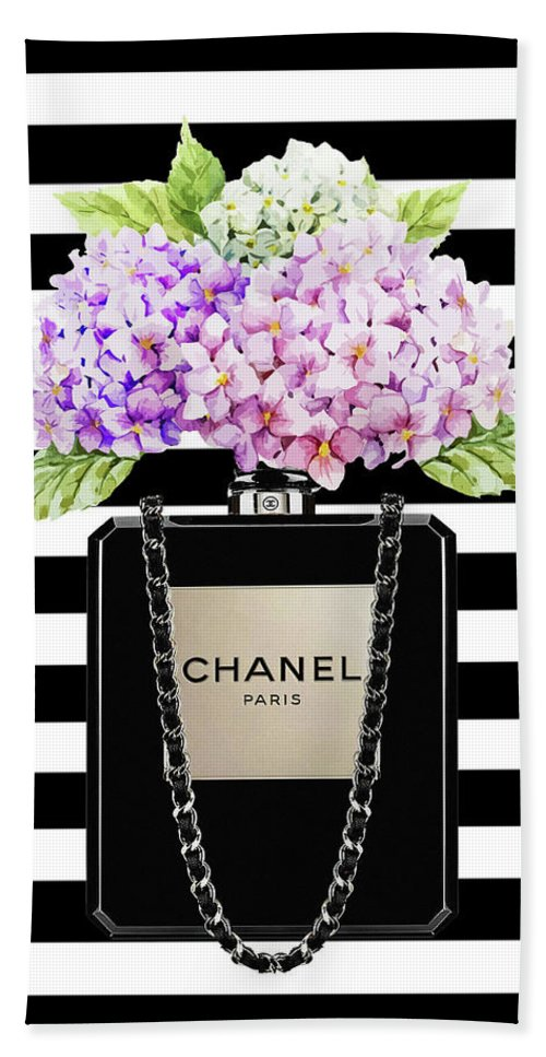 ae13ea593647c1 Chanel Bag Beach Sheet featuring the painting Chanel Bag With Lila  Hydragenia On Strips by Del