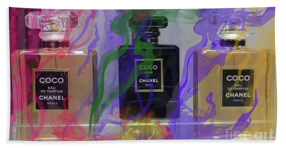 Chanel Coco Beach Sheet featuring the mixed media Chanel Coco Abstract by To-Tam Gerwe