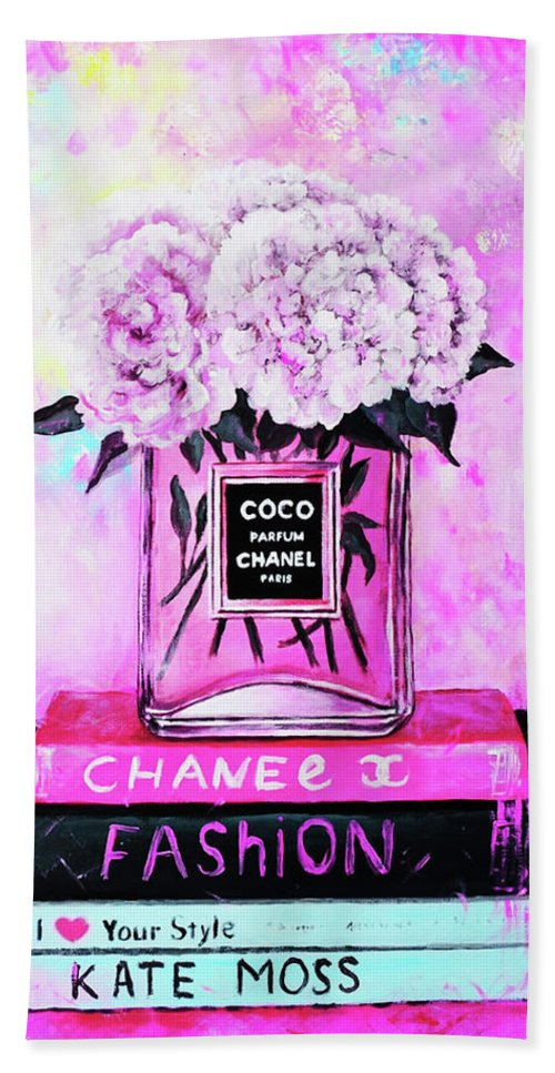 Chanel Home Decor Beach Towel featuring the painting Chanel Perfume With Peony by Del Art