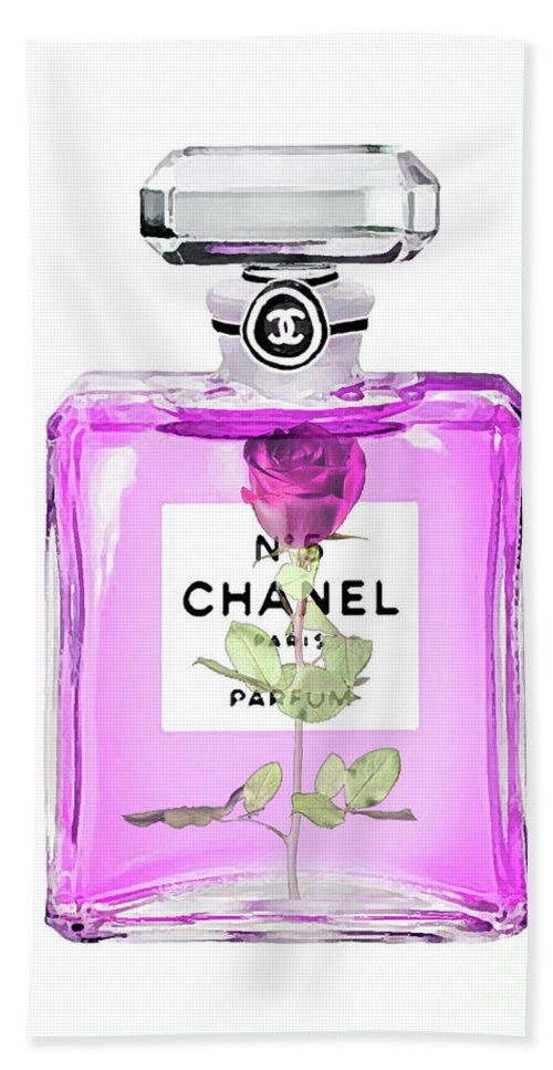 Chanel No 5 Perfume Rose In Bottle Beach Towel For Sale By Del Art
