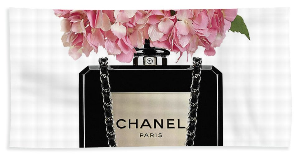 990fe1bf4d1b0e Chanel Beach Towel featuring the painting Chanel Perfume Bag With Pink  Hydrangea 2 by Del Art