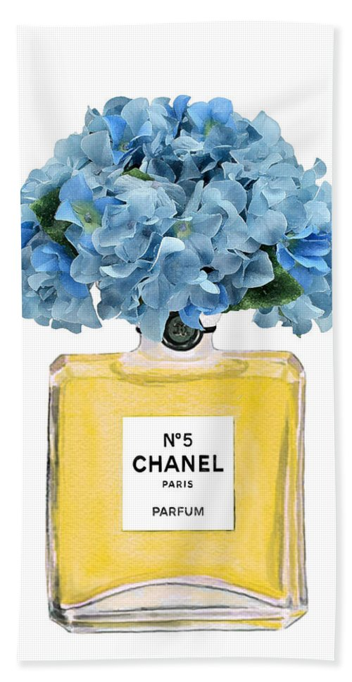 Chanel Perfume Nr 5 Beach Towel featuring the painting Chanel Perfume Nr 5 With Blue Hydragenias by Del Art