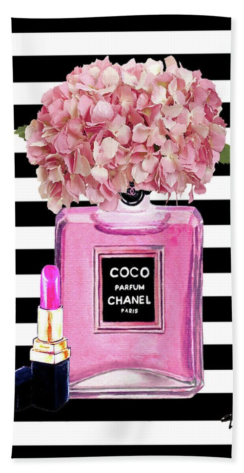 23b49f199dd999 Chanel Poster Pink Perfume Hydrangea Print Beach Towel for Sale by Del Art
