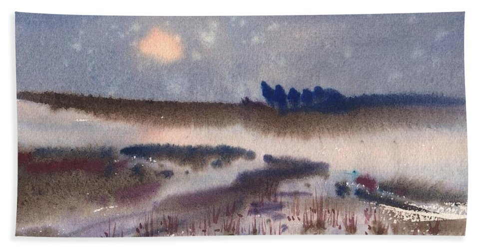 Snow Beach Towel featuring the painting Changing Seasons by Donald Maier