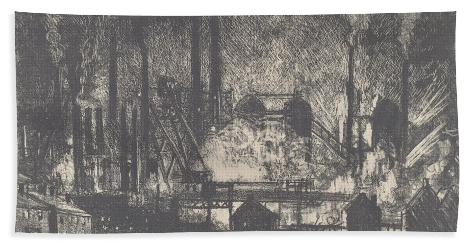 Beach Towel featuring the drawing Changing Shifts, Charleroi by Joseph Pennell