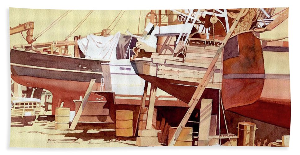Boat Beach Towel featuring the painting Chantier Naval by Francoise Chauray