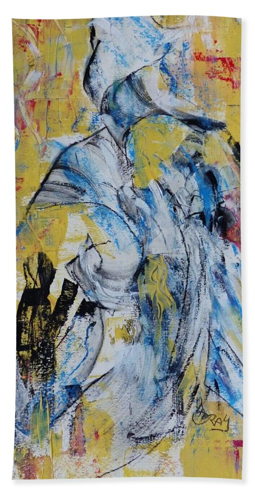 Intuitive Acrylic Abstract Beach Towel featuring the painting Chanting by Monique Gray
