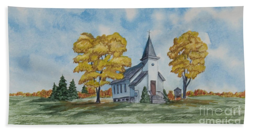 Fall Beach Towel featuring the painting Chapel In Fall by Charlotte Blanchard