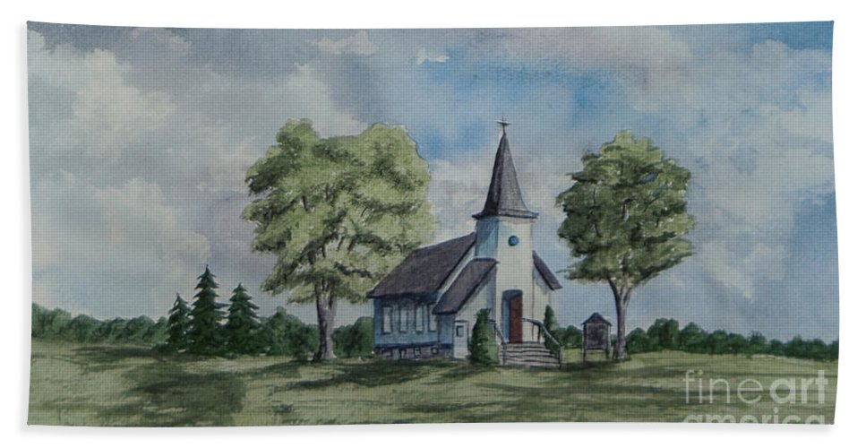 Country Summer Beach Towel featuring the painting Chapel In Summer by Charlotte Blanchard