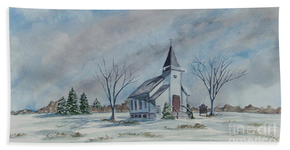 Country Church Beach Towel featuring the painting Chapel In Winter by Charlotte Blanchard
