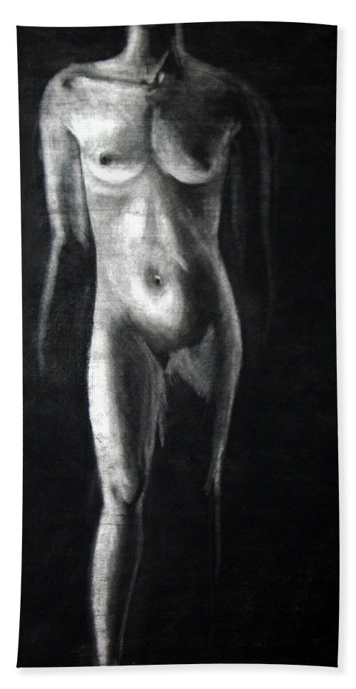 Model Beach Towel featuring the drawing Charcoal Nude Study by Nancy Mueller
