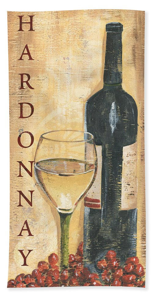 Wine Beach Towel featuring the painting Chardonnay Wine And Grapes by Debbie DeWitt