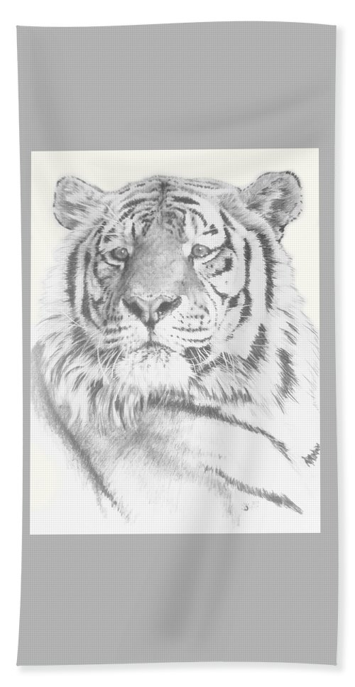 Tiger Beach Towel featuring the mixed media Charisma by Barbara Keith