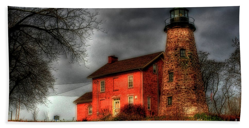 Lighthouse Beach Towel featuring the photograph Charlotte-genesee Lighthouse by Joel Witmeyer