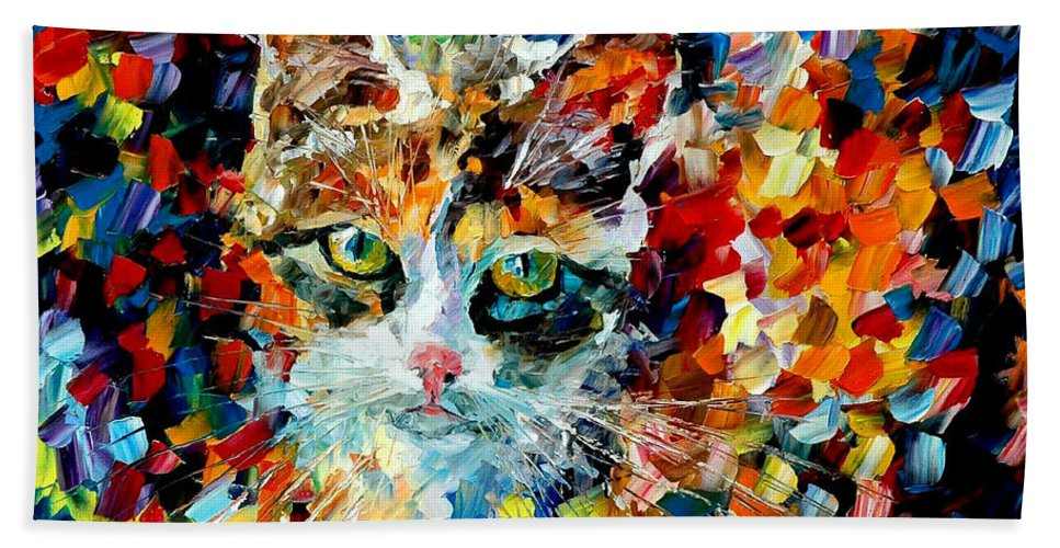 Cat Beach Towel featuring the painting Charming Cat by Leonid Afremov