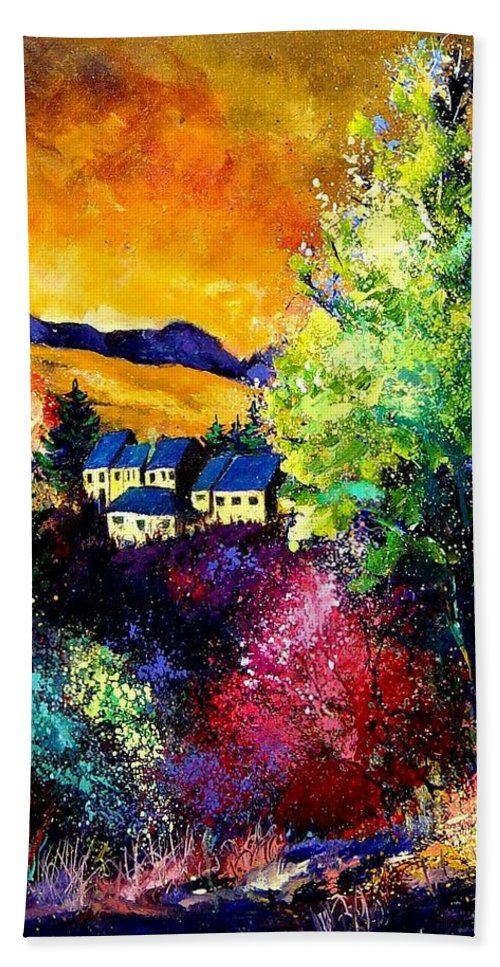 Landscape Beach Sheet featuring the painting Charnoy by Pol Ledent