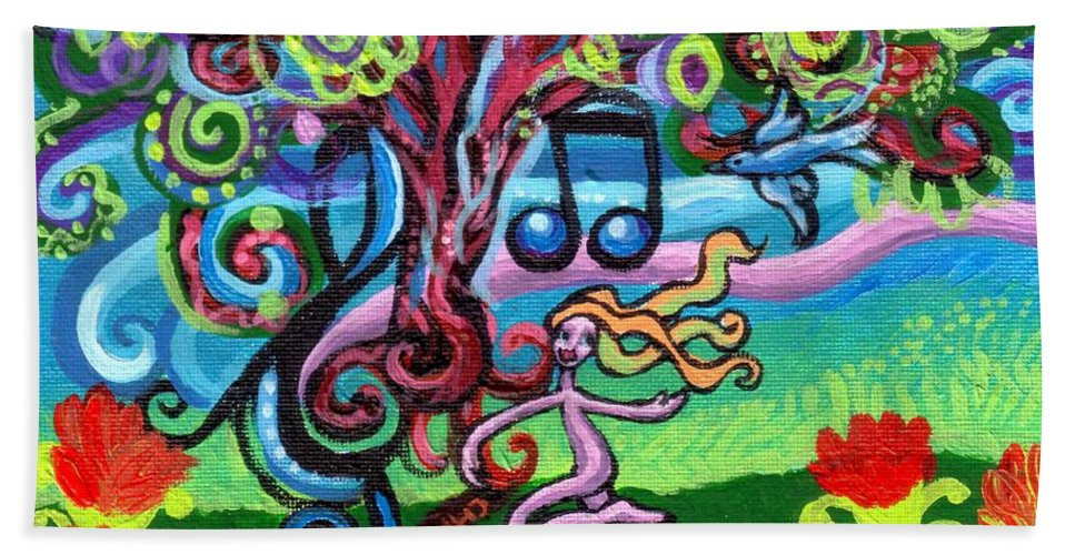 Chase Of The Faerie Note Bubble Beach Towel featuring the painting Chase Of The Faerie Note Bubble by Genevieve Esson
