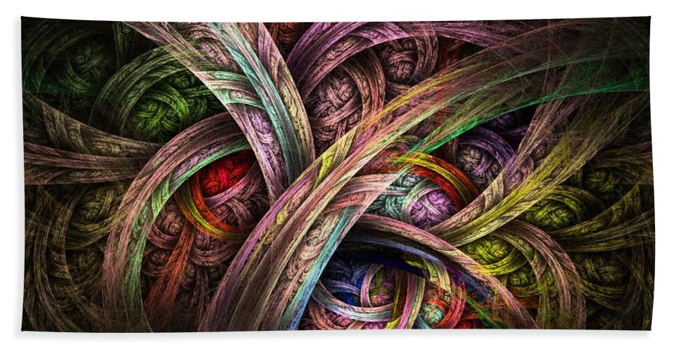 Abstract Beach Towel featuring the digital art Chasing Colors - Fractal Art by NirvanaBlues