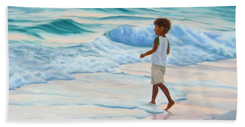 Child Beach Sheet featuring the painting Chasing The Waves by Lea Novak