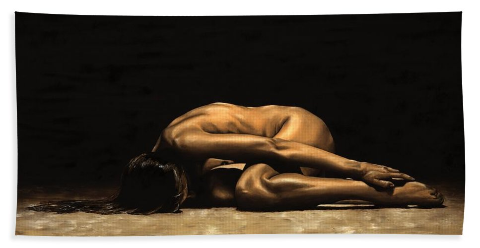 Nude Beach Towel featuring the painting Chastity by Richard Young