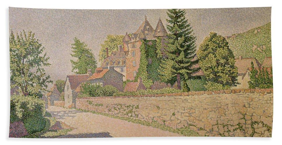 Chateau De Comblat Beach Towel featuring the painting Chateau De Comblat by Paul Signac
