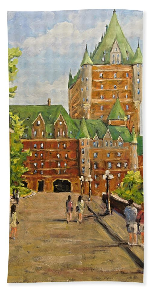 Original Oil Painting Of Chateau Frontenac. Stunning Scene Of Th Beach Towel featuring the painting Chateau Frontenac Promenade Quebec City by Prankearts by Richard T Pranke